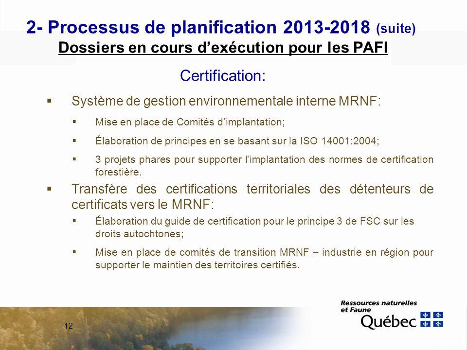 12 2- Processus de planification 2013-2018 (suite) Dossiers en cours dexécution pour les PAFI Certification: Système de gestion environnementale interne MRNF: Mise en place de Comités dimplantation; Élaboration de principes en se basant sur la ISO 14001:2004; 3 projets phares pour supporter limplantation des normes de certification forestière.