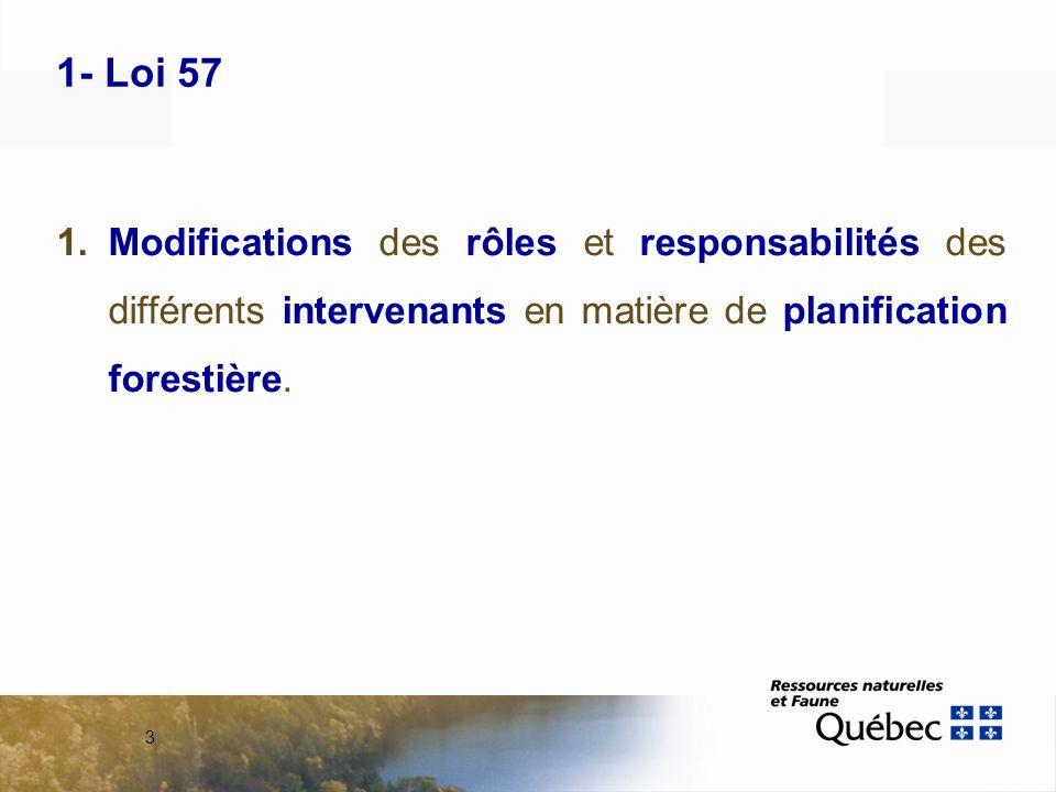 3 1- Loi 57 1.Modifications des rôles et responsabilités des différents intervenants en matière de planification forestière.