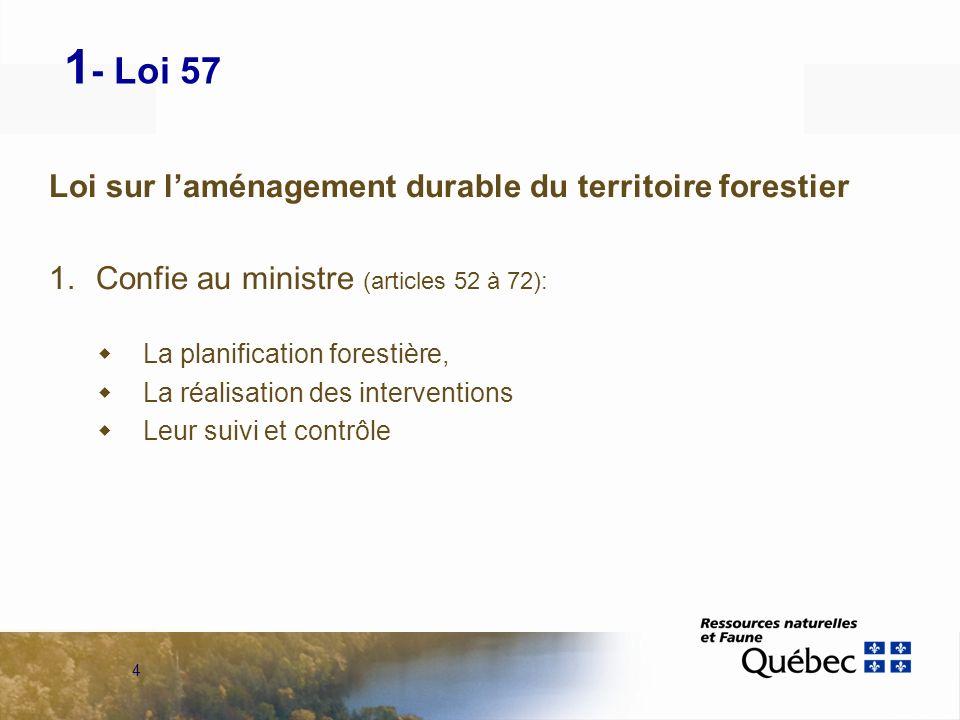 4 1 - Loi 57 Loi sur laménagement durable du territoire forestier 1.Confie au ministre (articles 52 à 72): La planification forestière, La réalisation des interventions Leur suivi et contrôle