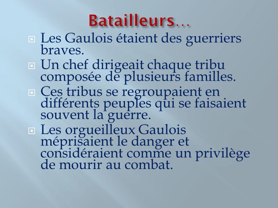 Les Gaulois étaient des guerriers braves. Un chef dirigeait chaque tribu composée de plusieurs familles. Ces tribus se regroupaient en différents peup