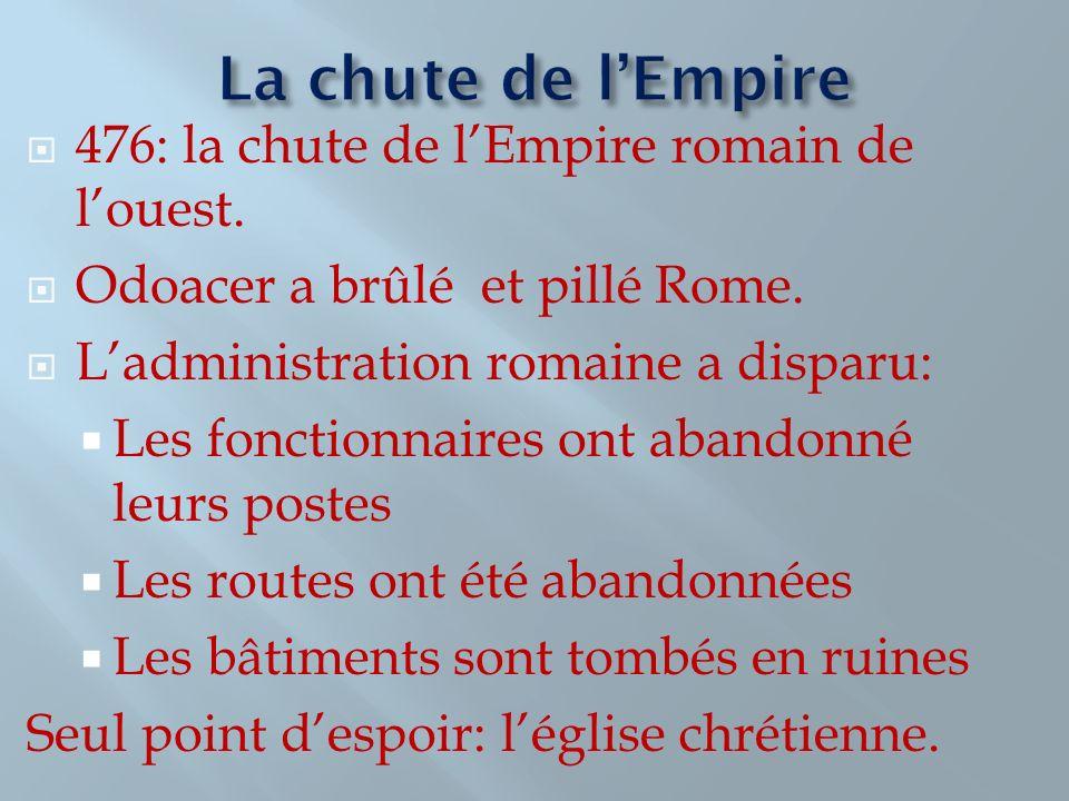 476: la chute de lEmpire romain de louest. Odoacer a brûlé et pillé Rome. Ladministration romaine a disparu: Les fonctionnaires ont abandonné leurs po