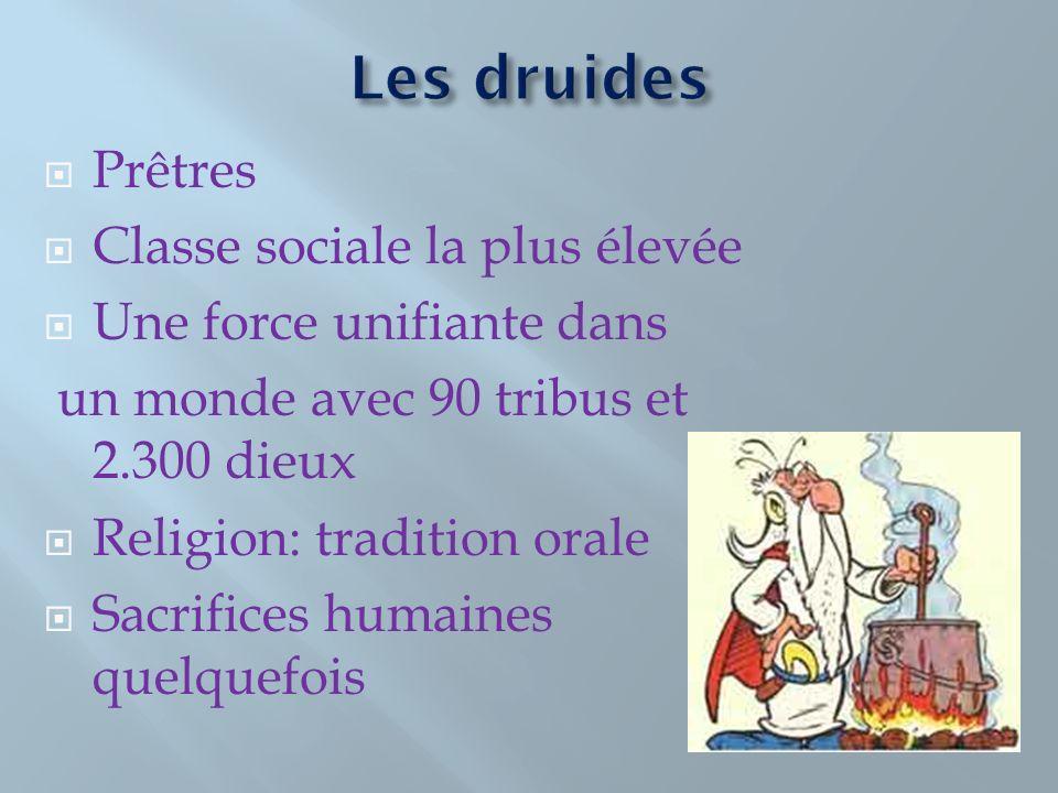Prêtres Classe sociale la plus élevée Une force unifiante dans un monde avec 90 tribus et 2.300 dieux Religion: tradition orale Sacrifices humaines quelquefois