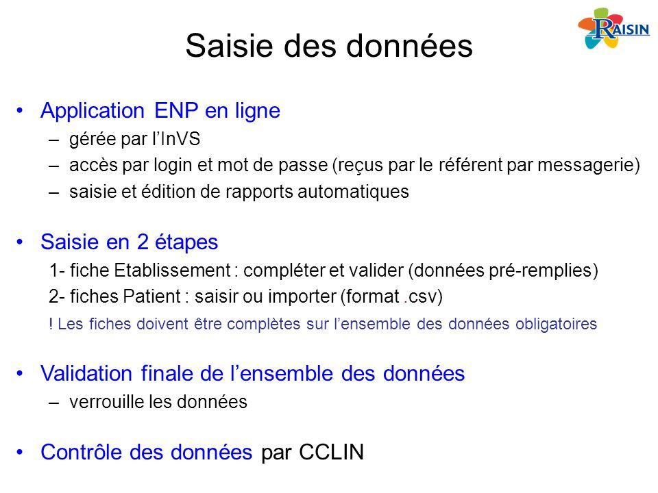 Saisie des données Application ENP en ligne –gérée par lInVS –accès par login et mot de passe (reçus par le référent par messagerie) –saisie et éditio