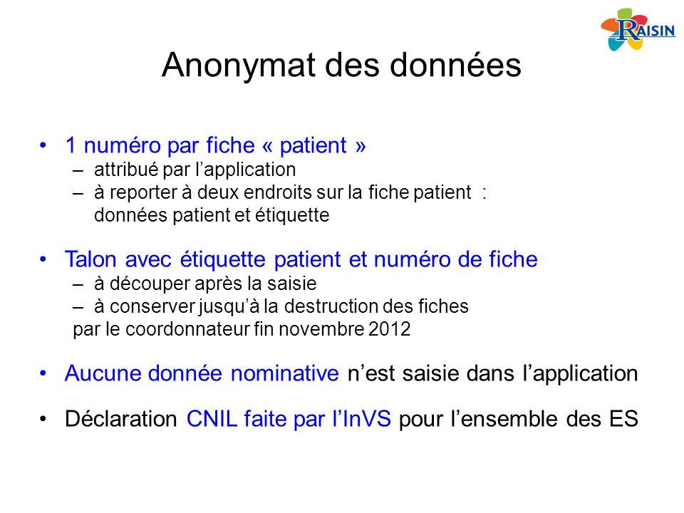 Anonymat des données 1 numéro par fiche « patient » –attribué par lapplication –à reporter à deux endroits sur la fiche patient : données patient et é