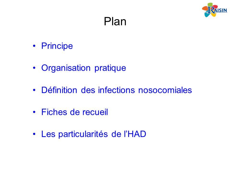 Plan Principe Organisation pratique Définition des infections nosocomiales Fiches de recueil Les particularités de lHAD