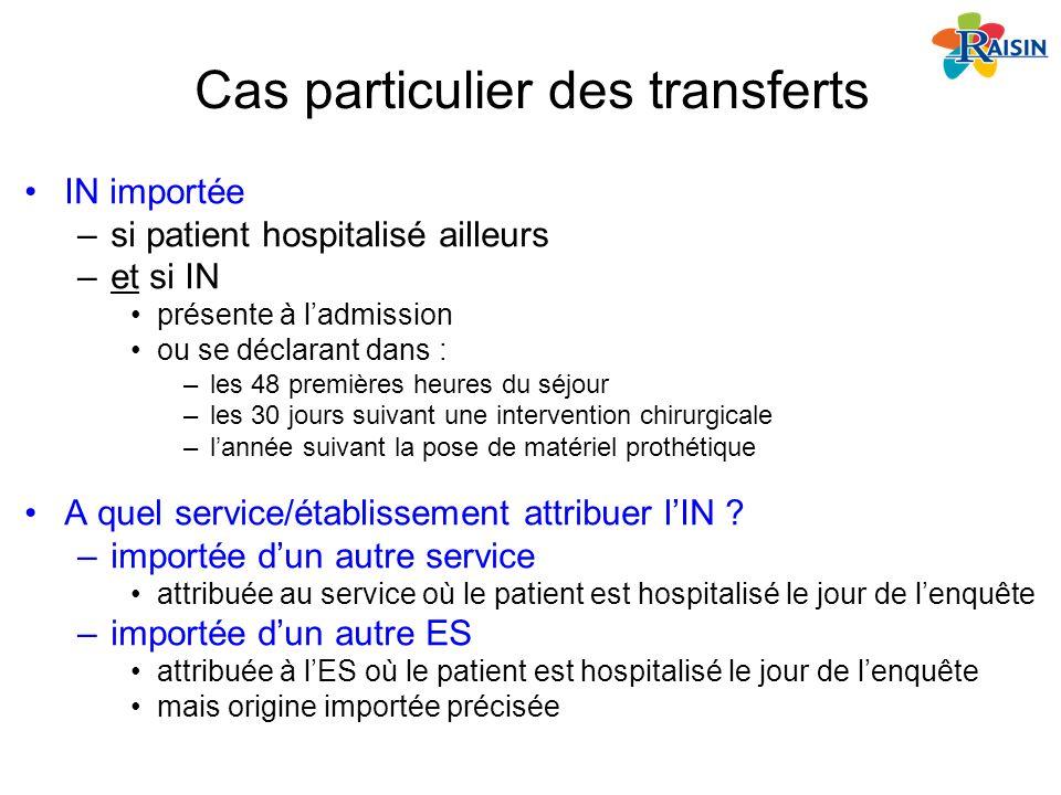Cas particulier des transferts IN importée –si patient hospitalisé ailleurs –et si IN présente à ladmission ou se déclarant dans : –les 48 premières h