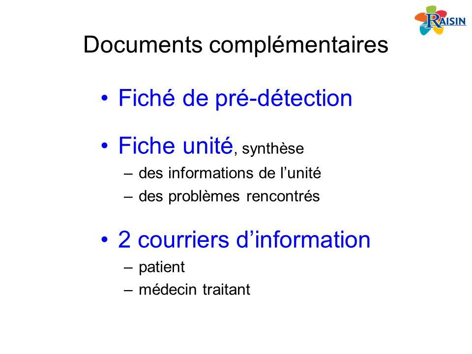 Documents complémentaires Fiché de pré-détection Fiche unité, synthèse –des informations de lunité –des problèmes rencontrés 2 courriers dinformation