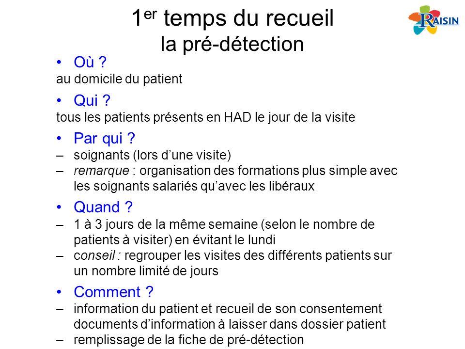 1 er temps du recueil la pré-détection Où ? au domicile du patient Qui ? tous les patients présents en HAD le jour de la visite Par qui ? –soignants (