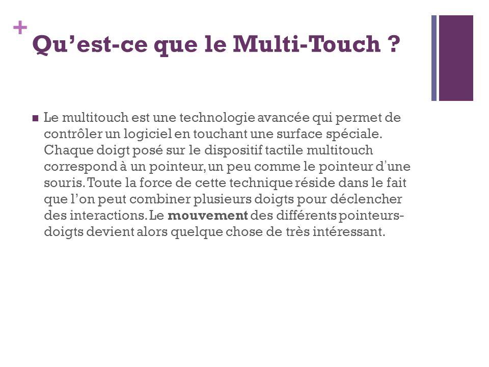 + Quest-ce que le Multi-Touch ? Le multitouch est une technologie avancée qui permet de contrôler un logiciel en touchant une surface spéciale. Chaque