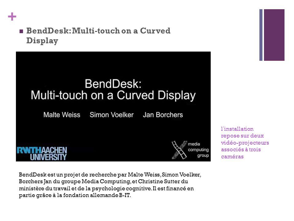 + BendDesk: Multi-touch on a Curved Display BendDesk est un projet de recherche par Malte Weiss, Simon Voelker, Borchers Jan du groupe Media Computing