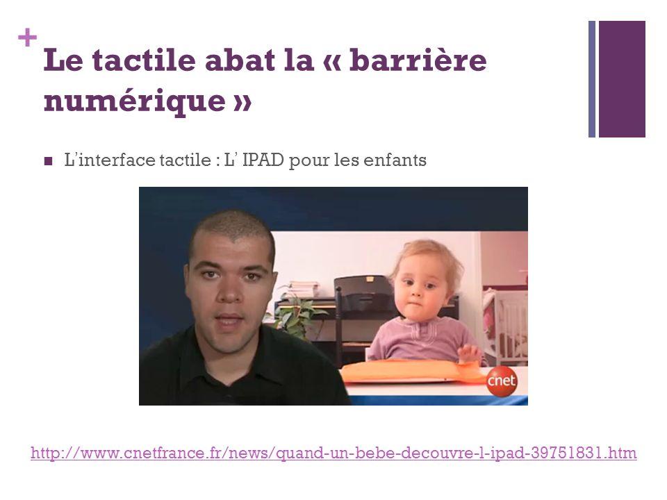 + Le tactile abat la « barrière numérique » Linterface tactile : L IPAD pour les enfants http://www.cnetfrance.fr/news/quand-un-bebe-decouvre-l-ipad-3