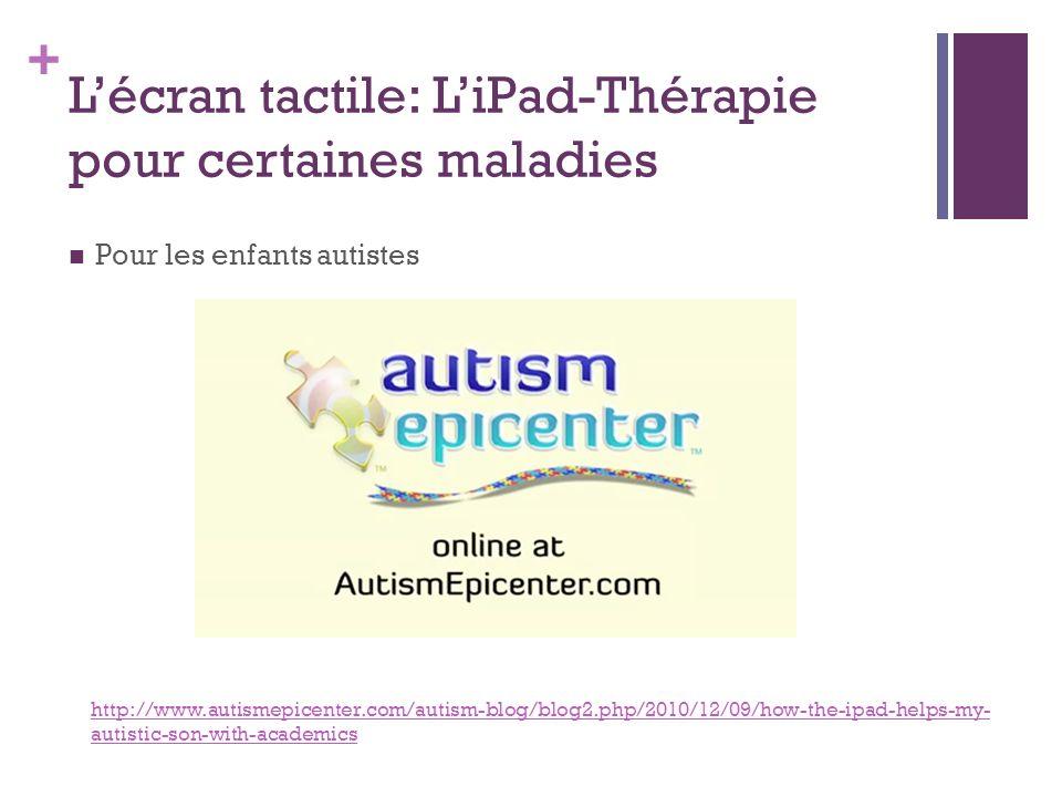+ Lécran tactile: LiPad-Thérapie pour certaines maladies Pour les enfants autistes http://www.autismepicenter.com/autism-blog/blog2.php/2010/12/09/how