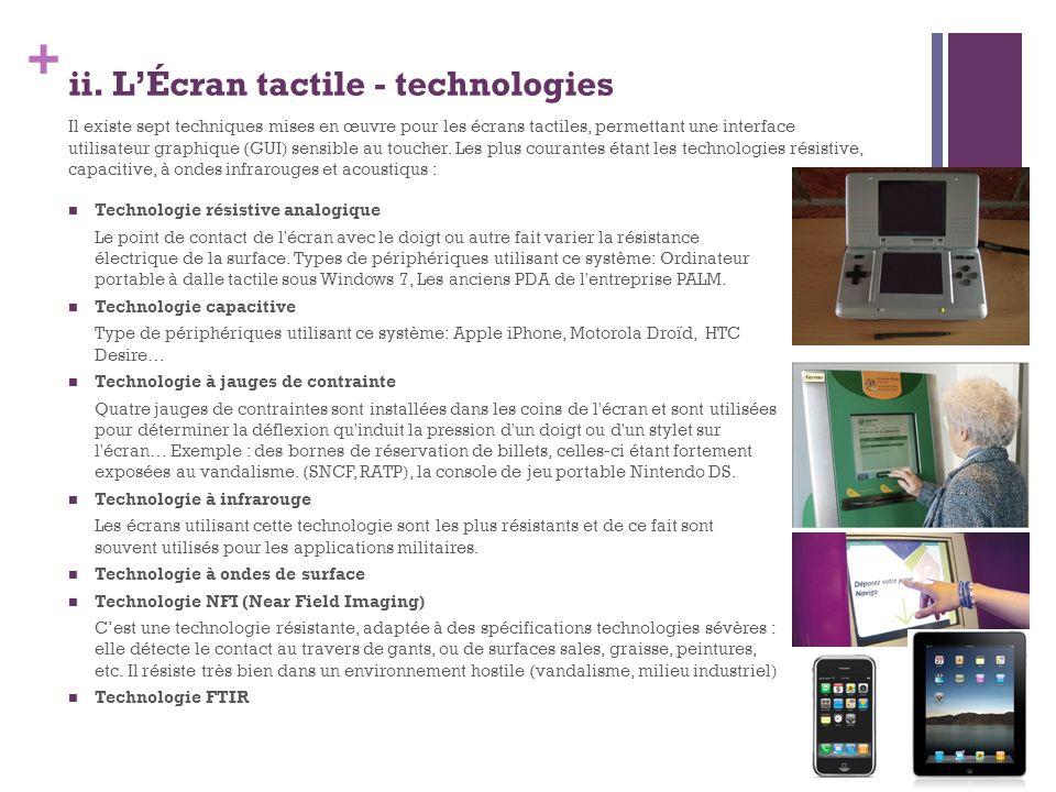 + ii. LÉcran tactile - technologies Technologie résistive analogique Le point de contact de l'écran avec le doigt ou autre fait varier la résistance é