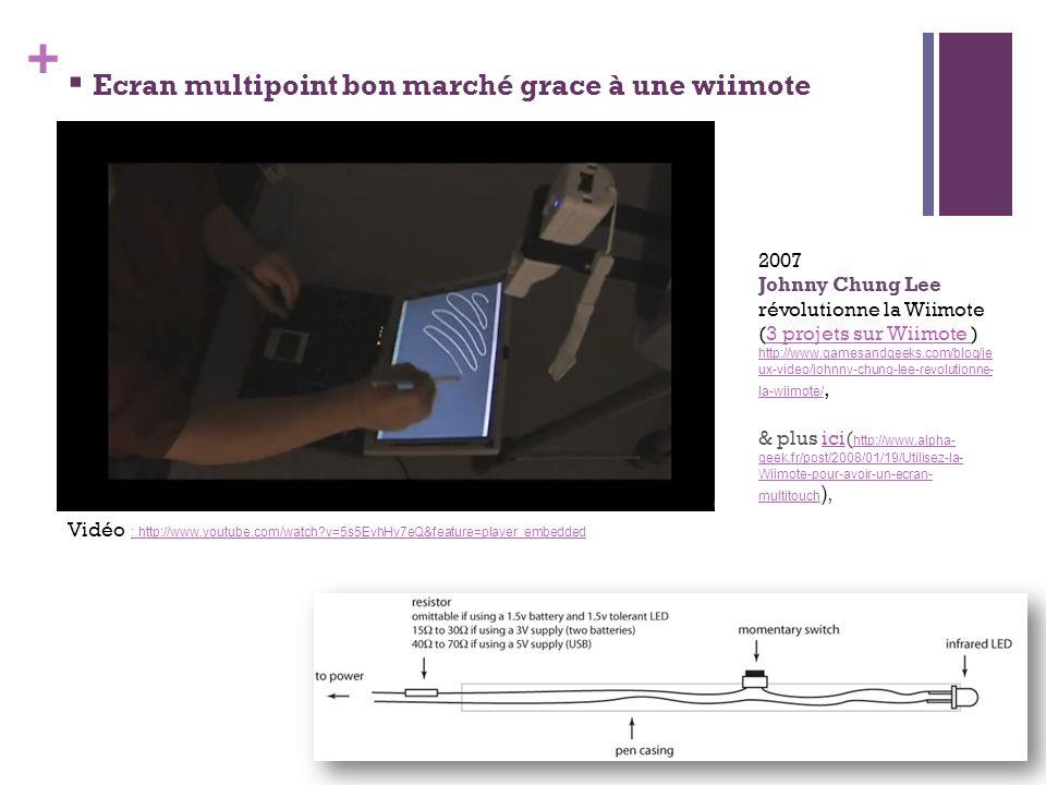 + Ecran multipoint bon marché grace à une wiimote 2007 Johnny Chung Lee révolutionne la Wiimote (3 projets sur Wiimote )3 projets sur Wiimote http://w