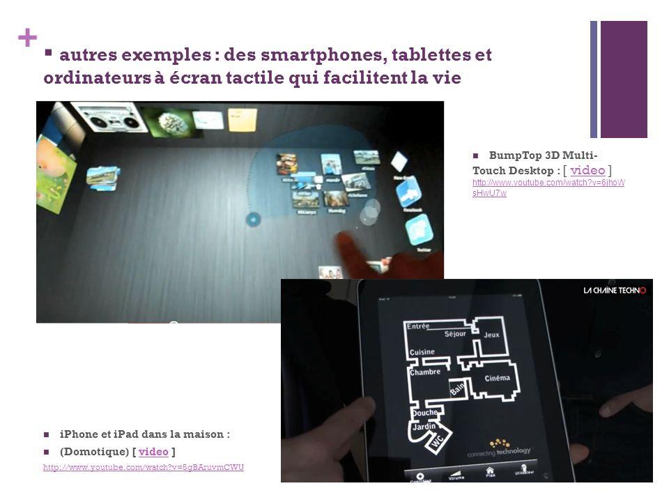 + iPhone et iPad dans la maison : (Domotique) [ video ]video http://www.youtube.com/watch?v=5gBAruvmCWU autres exemples : des smartphones, tablettes e