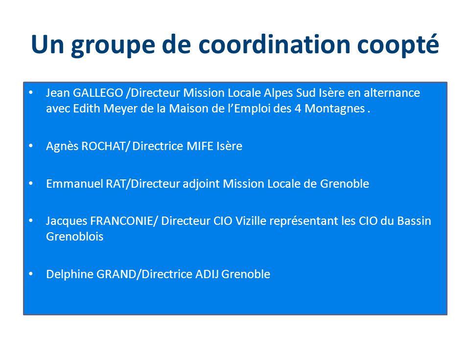 Un groupe de coordination coopté Jean GALLEGO /Directeur Mission Locale Alpes Sud Isère en alternance avec Edith Meyer de la Maison de lEmploi des 4 M