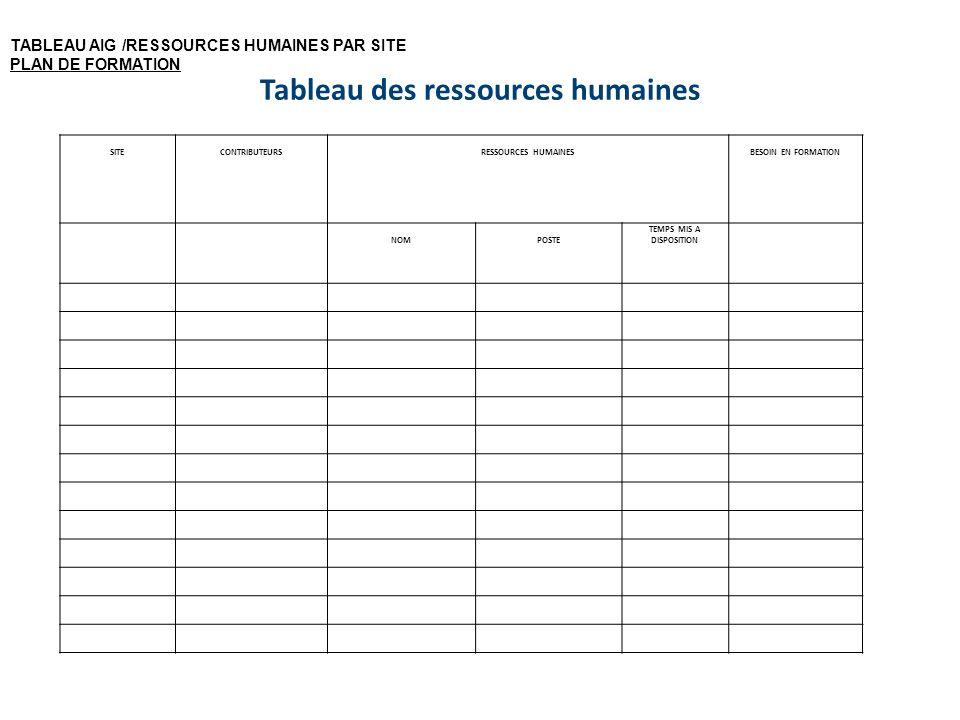 Tableau des ressources humaines SITECONTRIBUTEURSRESSOURCES HUMAINESBESOIN EN FORMATION NOMPOSTE TEMPS MIS A DISPOSITION TABLEAU AIG /RESSOURCES HUMAI