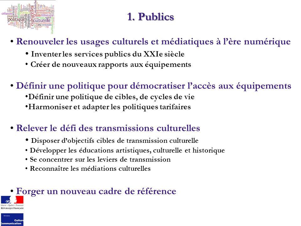 1. Publics Renouveler les usages culturels et médiatiques à lère numérique Inventer les services publics du XXIe siècle Créer de nouveaux rapports aux
