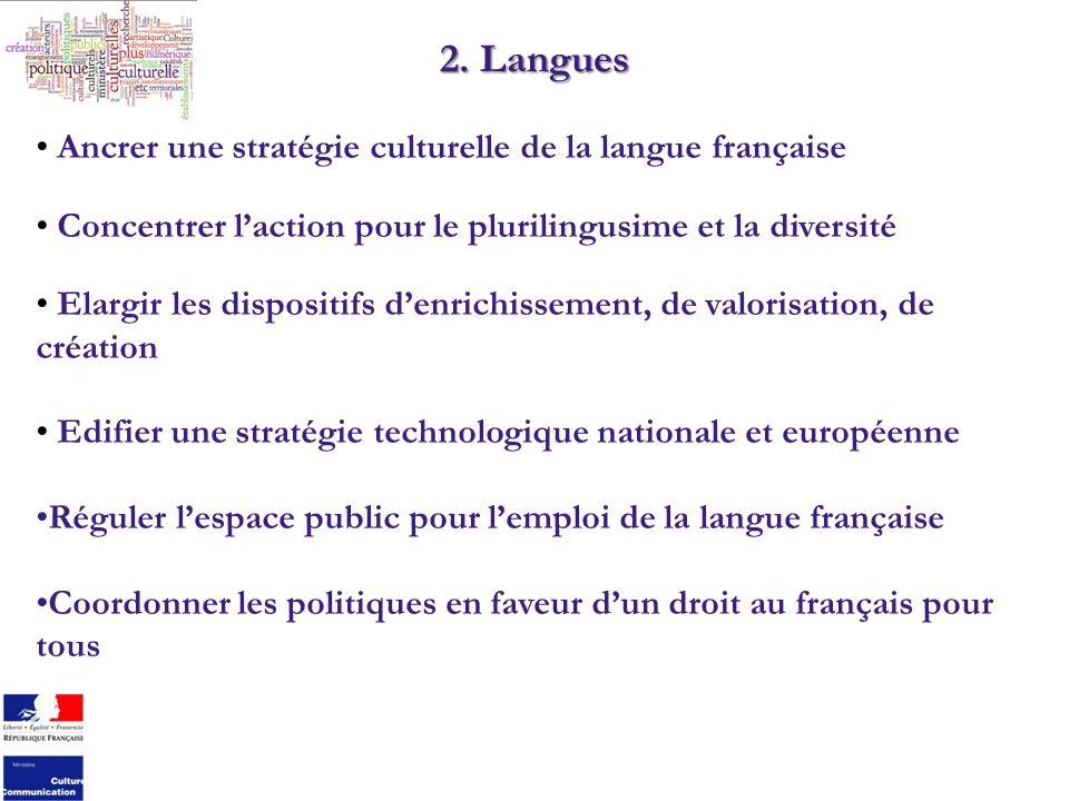 2. Langues Ancrer une stratégie culturelle de la langue française Concentrer laction pour le plurilingusime et la diversité Elargir les dispositifs de