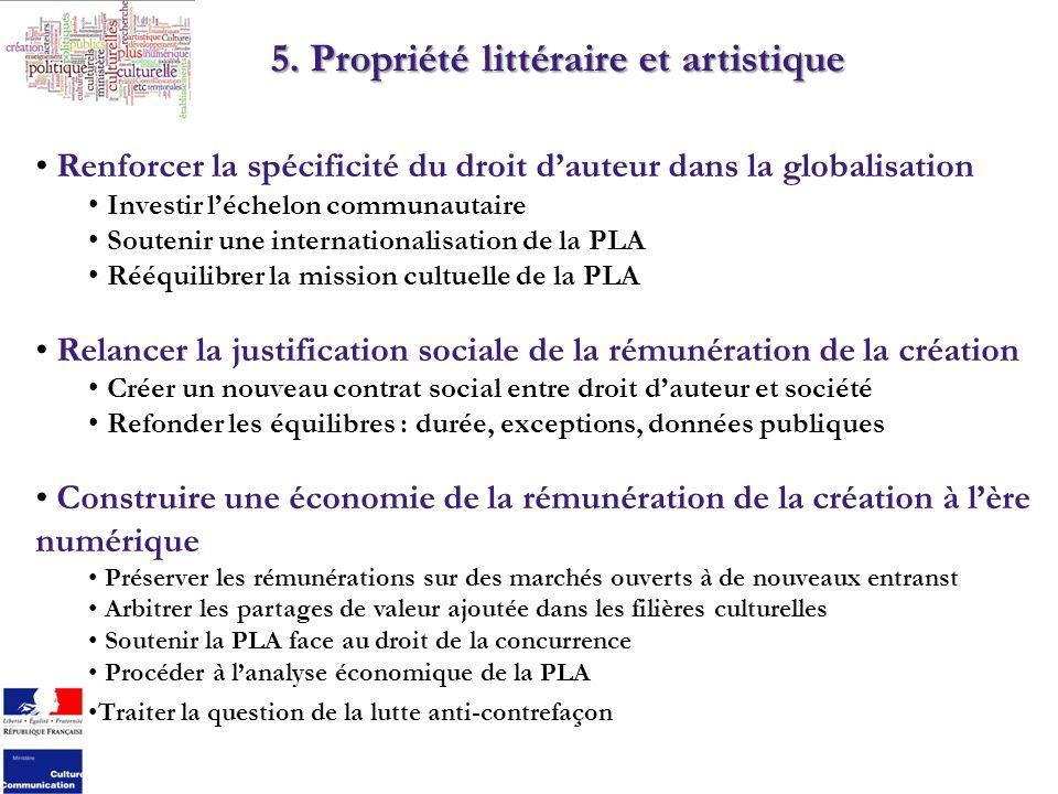 5. Propriété littéraire et artistique Renforcer la spécificité du droit dauteur dans la globalisation Investir léchelon communautaire Soutenir une int