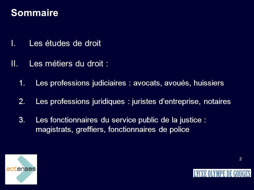 2 Sommaire Les études de droit Les métiers du droit : Les professions judiciaires : avocats, avoués, huissiers Les professions juridiques : juristes d