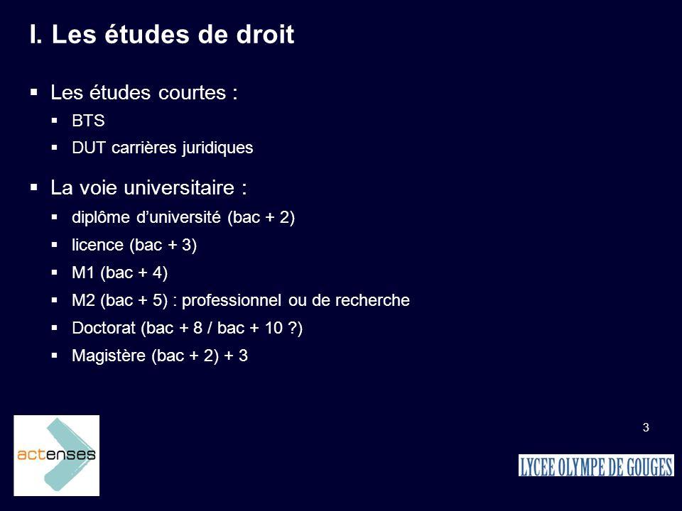 3 I. Les études de droit Les études courtes : BTS DUT carrières juridiques La voie universitaire : diplôme duniversité (bac + 2) licence (bac + 3) M1