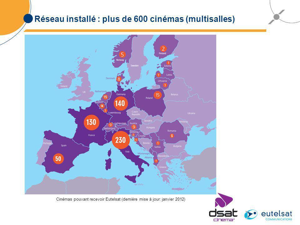 Réseau installé : plus de 600 cinémas (multisalles) Cinémas pouvant recevoir Eutelsat (dernière mise à jour: janvier 2012)