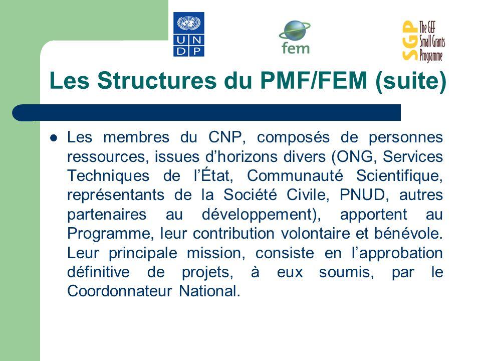 Les Structures du PMF/FEM (suite) Les membres du CNP, composés de personnes ressources, issues dhorizons divers (ONG, Services Techniques de lÉtat, Co