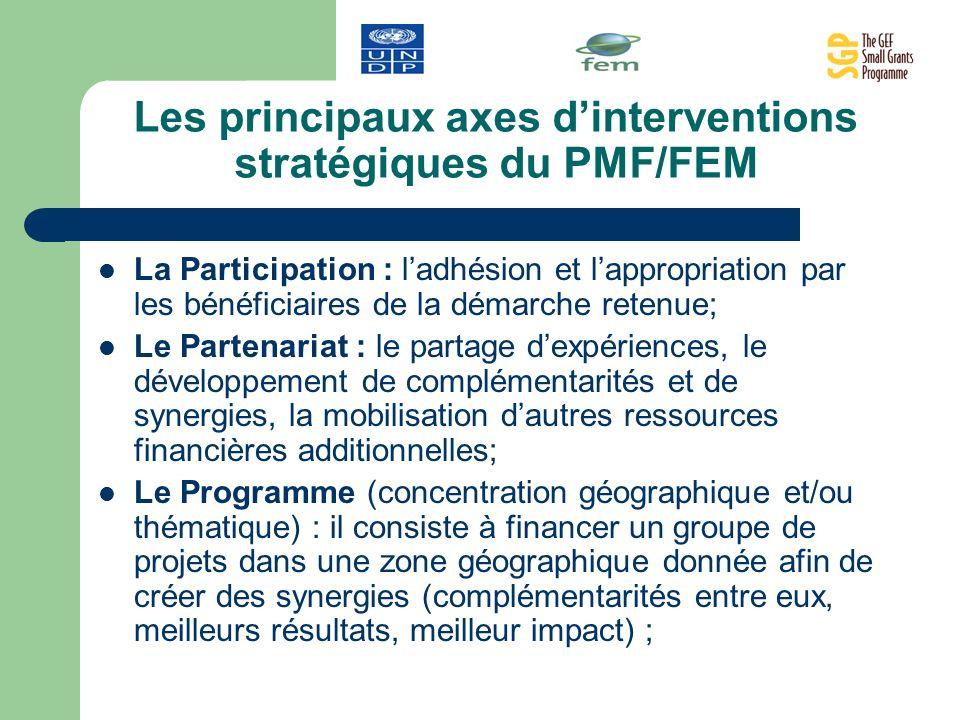 Les principaux axes dinterventions stratégiques du PMF/FEM La Participation : ladhésion et lappropriation par les bénéficiaires de la démarche retenue