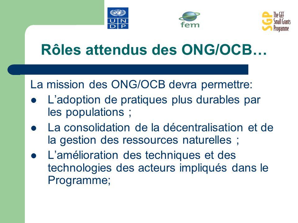 Rôles attendus des ONG/OCB… La mission des ONG/OCB devra permettre: Ladoption de pratiques plus durables par les populations ; La consolidation de la