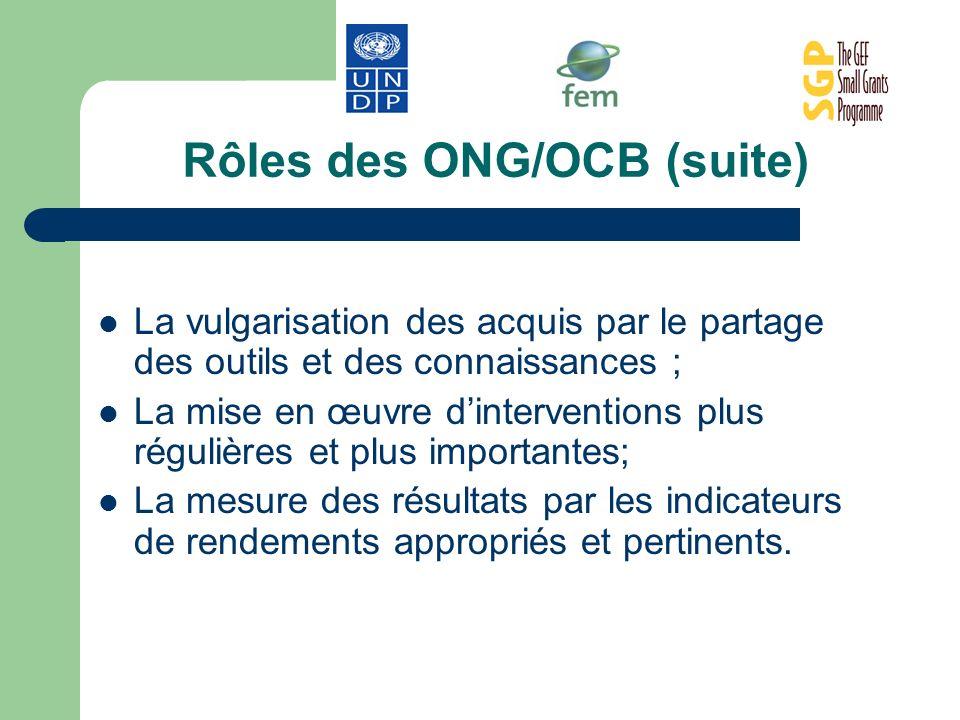 Rôles des ONG/OCB (suite) La vulgarisation des acquis par le partage des outils et des connaissances ; La mise en œuvre dinterventions plus régulières