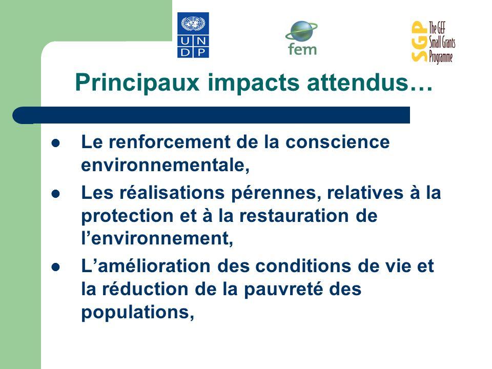 Principaux impacts attendus… Le renforcement de la conscience environnementale, Les réalisations pérennes, relatives à la protection et à la restaurat