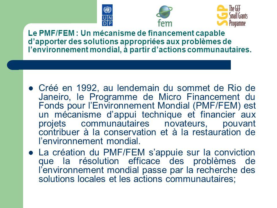 Le PMF/FEM : Un mécanisme de financement capable dapporter des solutions appropriées aux problèmes de lenvironnement mondial, à partir dactions commun