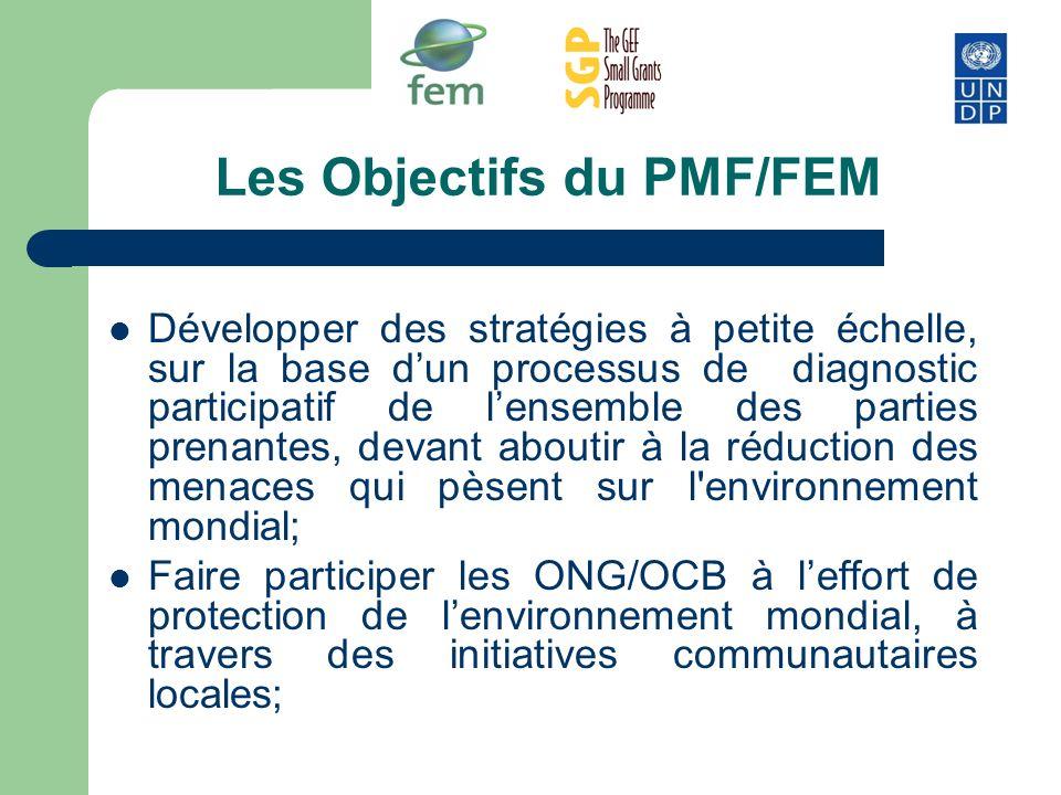 Les Objectifs du PMF/FEM Développer des stratégies à petite échelle, sur la base dun processus de diagnostic participatif de lensemble des parties pre