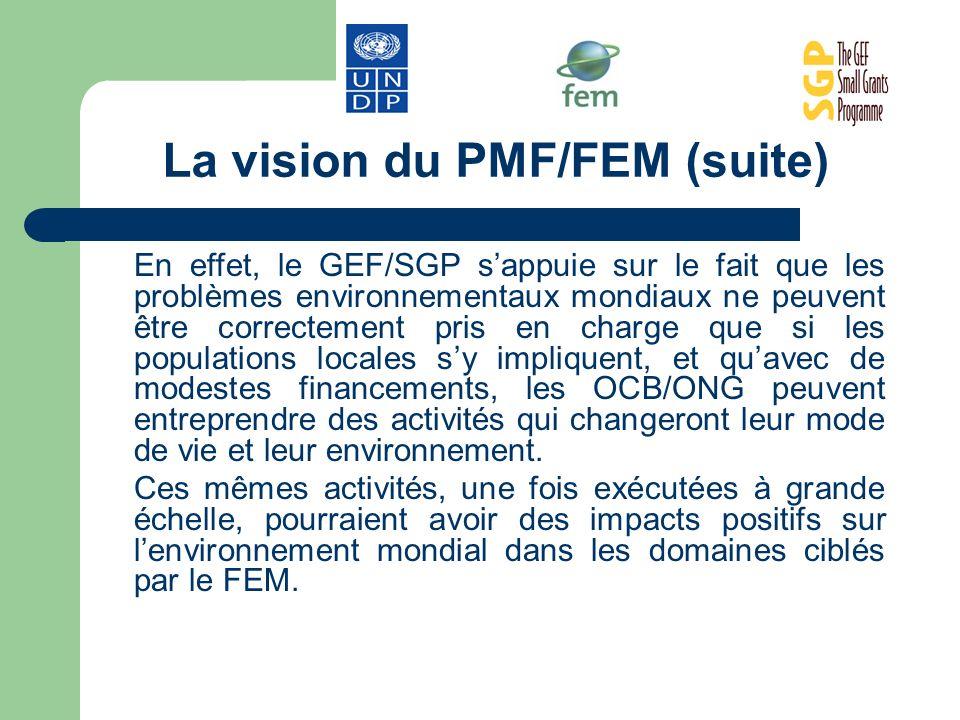 La vision du PMF/FEM (suite) En effet, le GEF/SGP sappuie sur le fait que les problèmes environnementaux mondiaux ne peuvent être correctement pris en