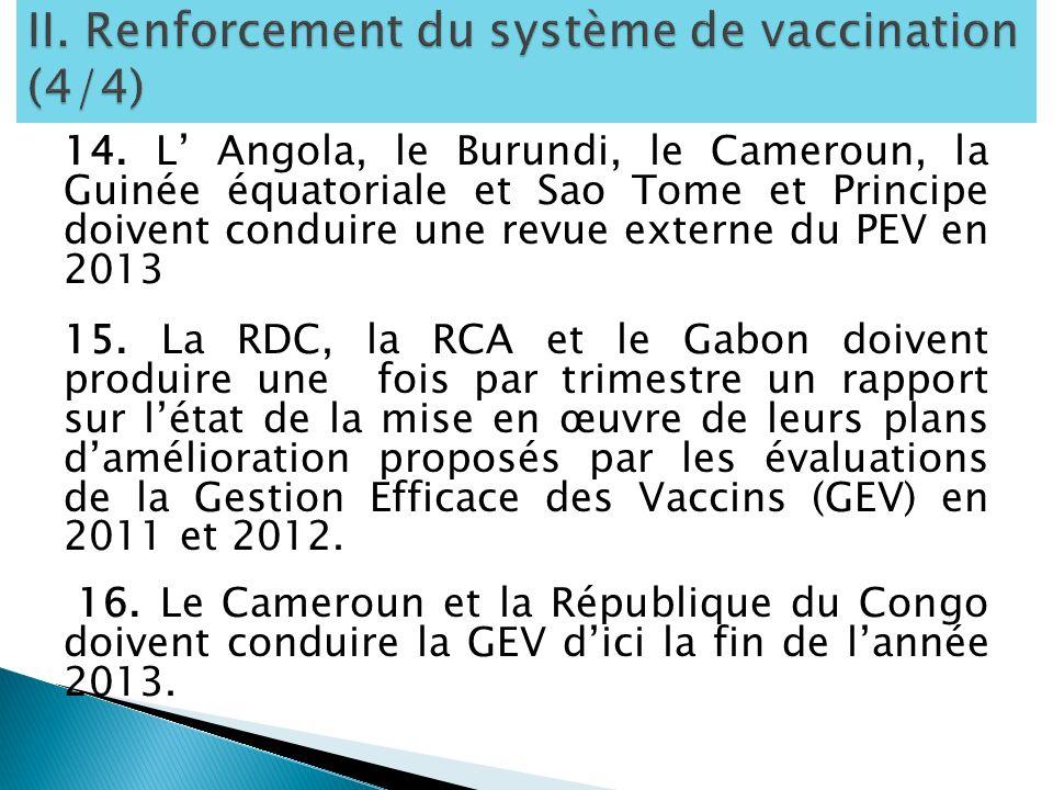 14. L Angola, le Burundi, le Cameroun, la Guinée équatoriale et Sao Tome et Principe doivent conduire une revue externe du PEV en 2013 15. La RDC, la