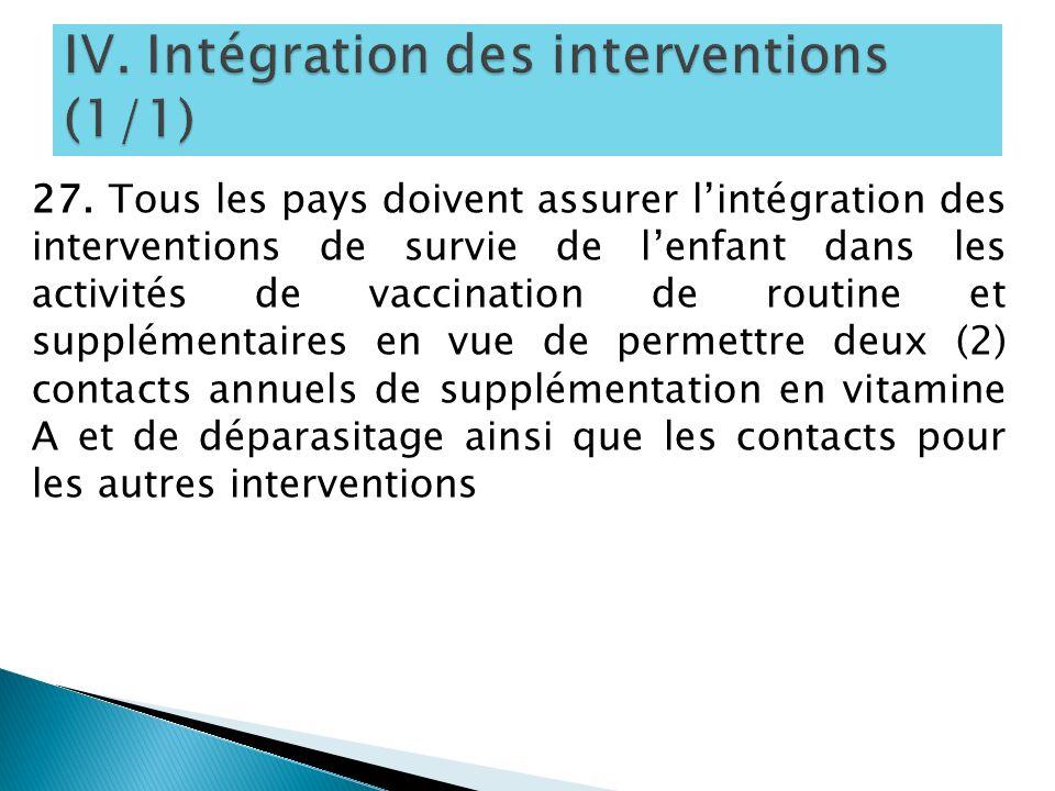 27. Tous les pays doivent assurer lintégration des interventions de survie de lenfant dans les activités de vaccination de routine et supplémentaires