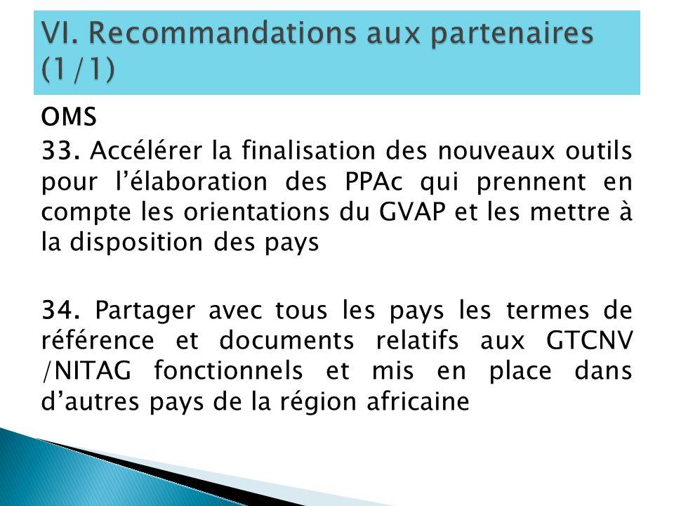 OMS 33. Accélérer la finalisation des nouveaux outils pour lélaboration des PPAc qui prennent en compte les orientations du GVAP et les mettre à la di
