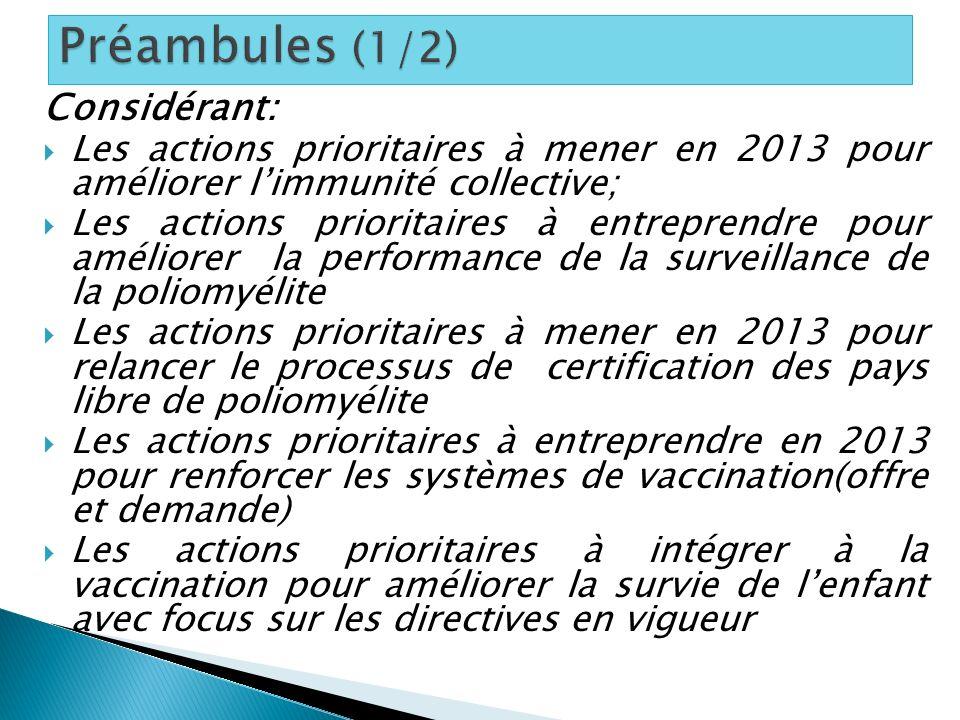 Considérant: Les actions prioritaires à mener en 2013 pour améliorer limmunité collective; Les actions prioritaires à entreprendre pour améliorer la p