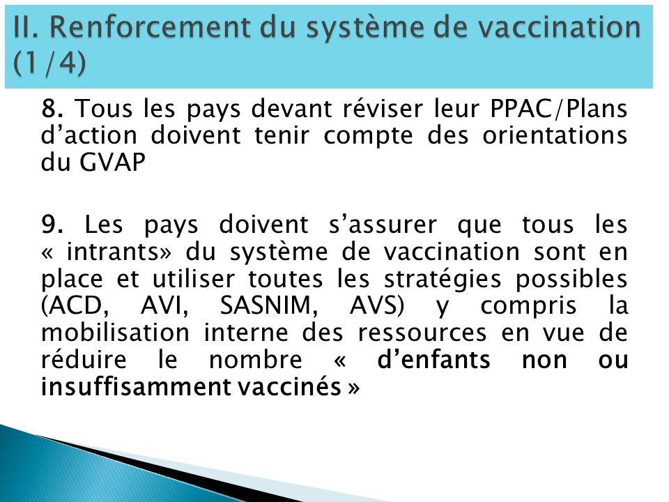 8. Tous les pays devant réviser leur PPAC/Plans daction doivent tenir compte des orientations du GVAP 9. Les pays doivent sassurer que tous les « intr
