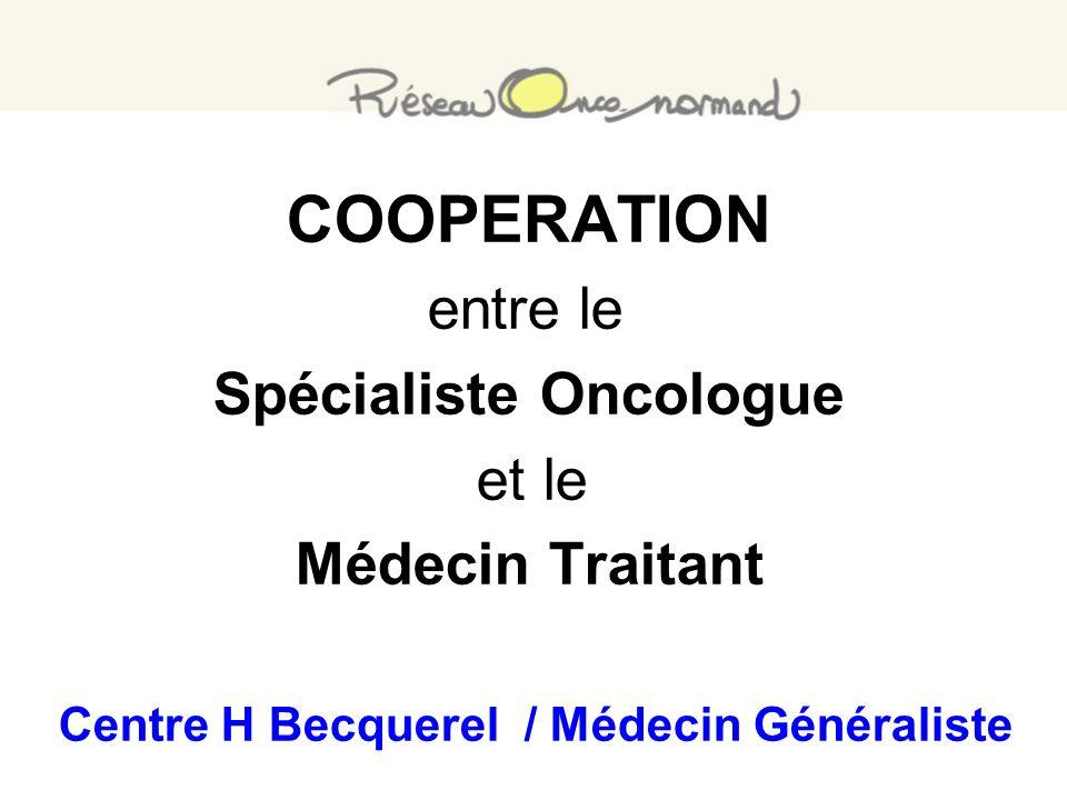 COOPERATION entre le Spécialiste Oncologue et le Médecin Traitant Centre H Becquerel / Médecin Généraliste