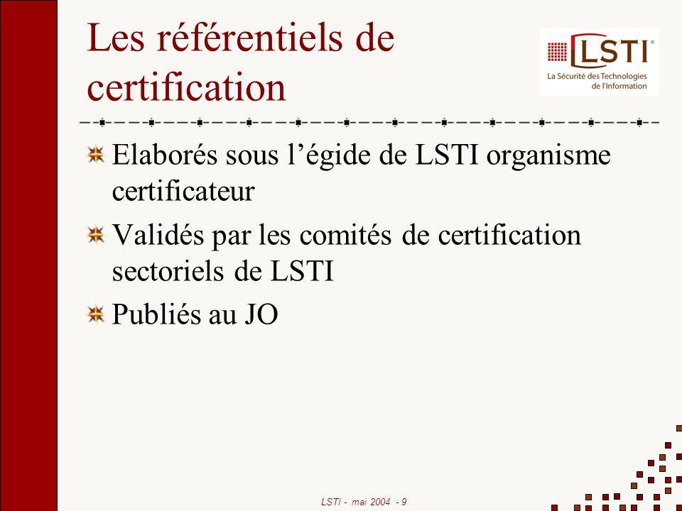 LSTI - mai 2004 - 10 Les référentiels existants Les politiques de certification de la DCSSI Les cibles de sécurité systèmes « traduites » Les référentiels daudit existants LSTI peut prendre à sa charge la rédaction des référentiels
