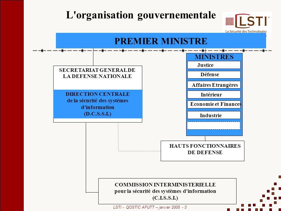 LSTI - QOSTIC AFUTT – janvier 2005 - 3 PREMIER MINISTRE MINISTRES Justice Défense Affaires Etrangères Intérieur HAUTS FONCTIONNAIRES DE DEFENSE COMMISSION INTERMINISTERIELLE pour la sécurité des systèmes d information (C.I.S.S.I.) DIRECTION CENTRALE de la sécurité des systèmes d information (D.C.S.S.I.) SECRETARIAT GENERAL DE LA DEFENSE NATIONALE Economie et Finances Industrie L organisation gouvernementale