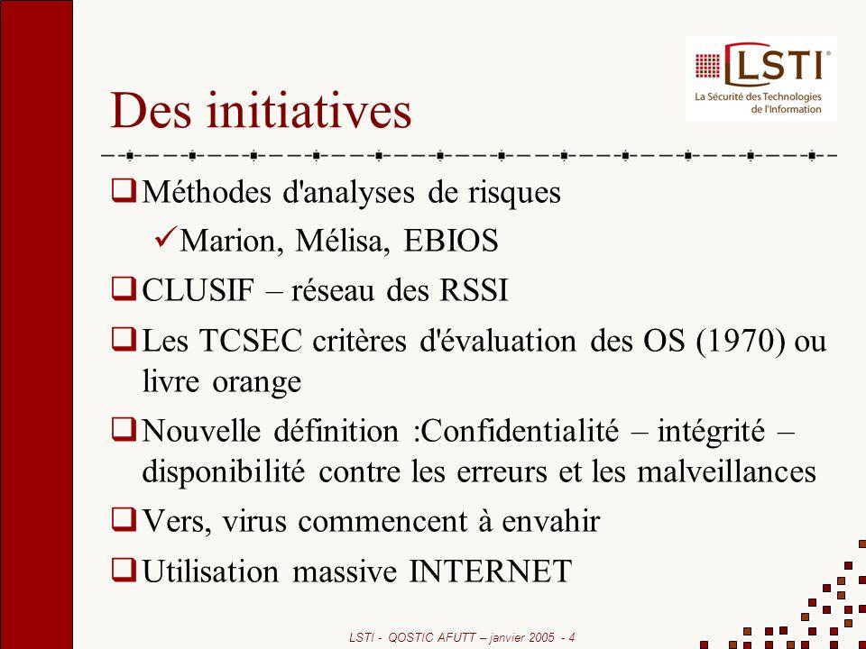 LSTI - QOSTIC AFUTT – janvier 2005 - 4 Des initiatives Méthodes d'analyses de risques Marion, Mélisa, EBIOS CLUSIF – réseau des RSSI Les TCSEC critère
