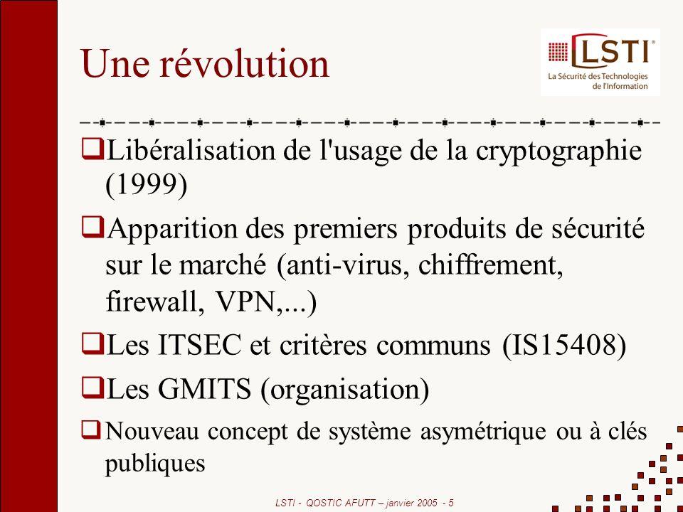 LSTI - QOSTIC AFUTT – janvier 2005 - 5 Une révolution Libéralisation de l'usage de la cryptographie (1999) Apparition des premiers produits de sécurit