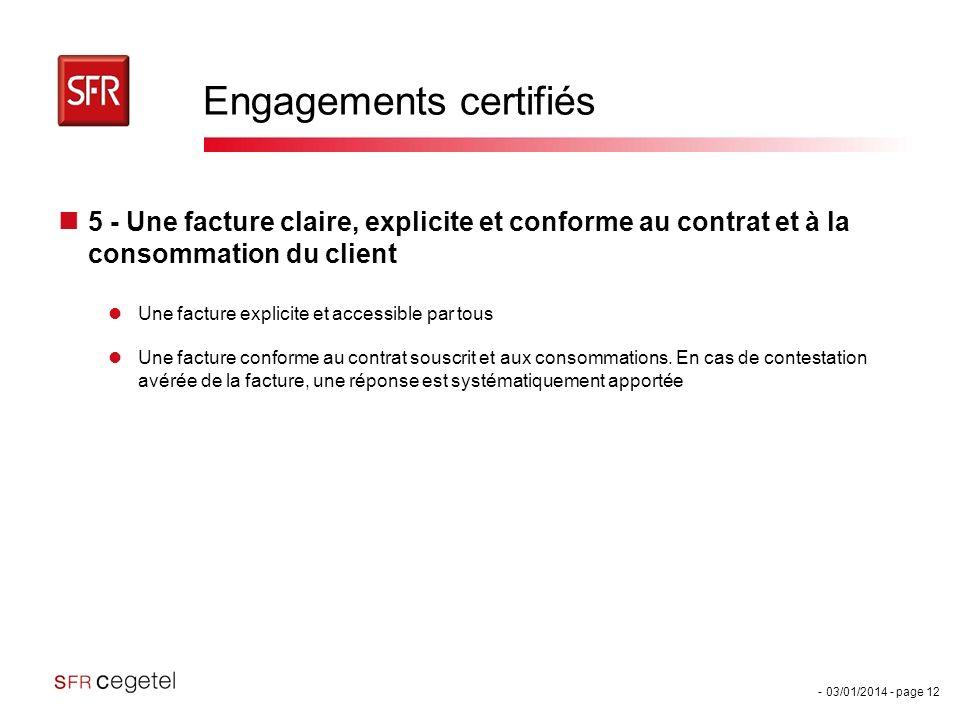 - 03/01/2014 - page 12 Engagements certifiés 5 - Une facture claire, explicite et conforme au contrat et à la consommation du client Une facture expli