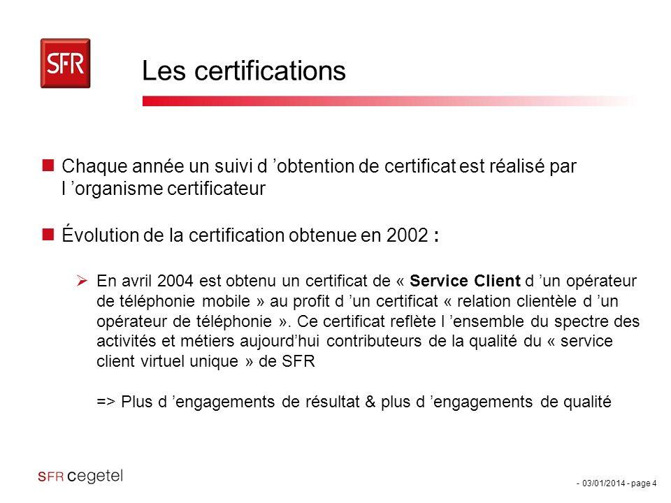 - 03/01/2014 - page 4 Les certifications Chaque année un suivi d obtention de certificat est réalisé par l organisme certificateur Évolution de la cer
