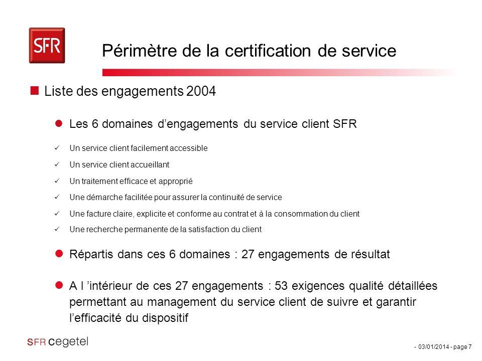 - 03/01/2014 - page 7 Périmètre de la certification de service Liste des engagements 2004 Les 6 domaines dengagements du service client SFR Un service