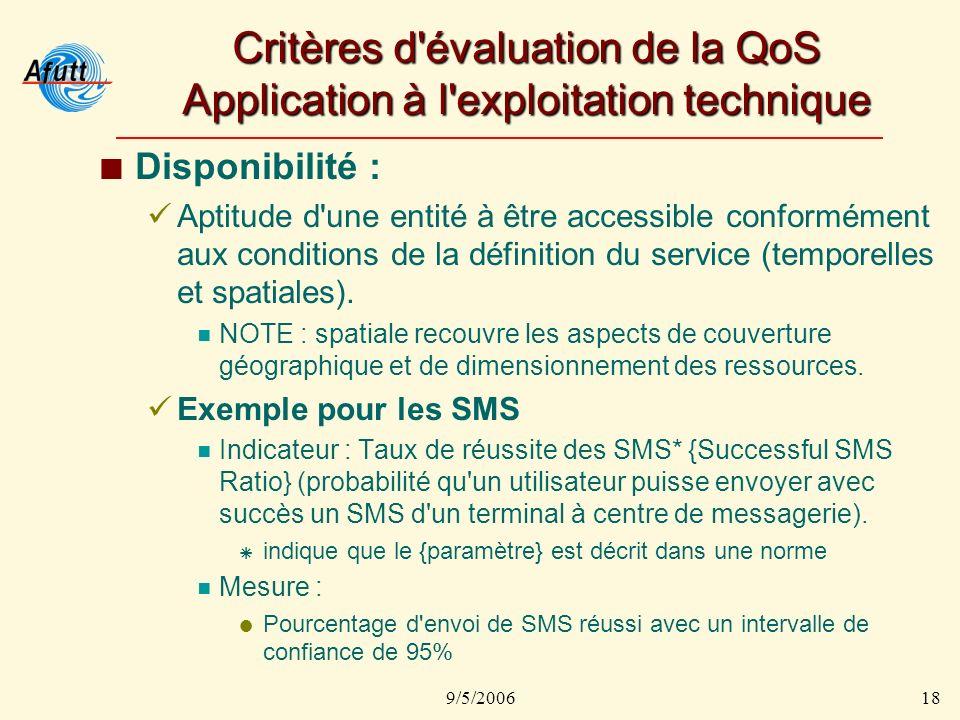 9/5/200618 Critères d évaluation de la QoS Application à l exploitation technique Disponibilité : Aptitude d une entité à être accessible conformément aux conditions de la définition du service (temporelles et spatiales).