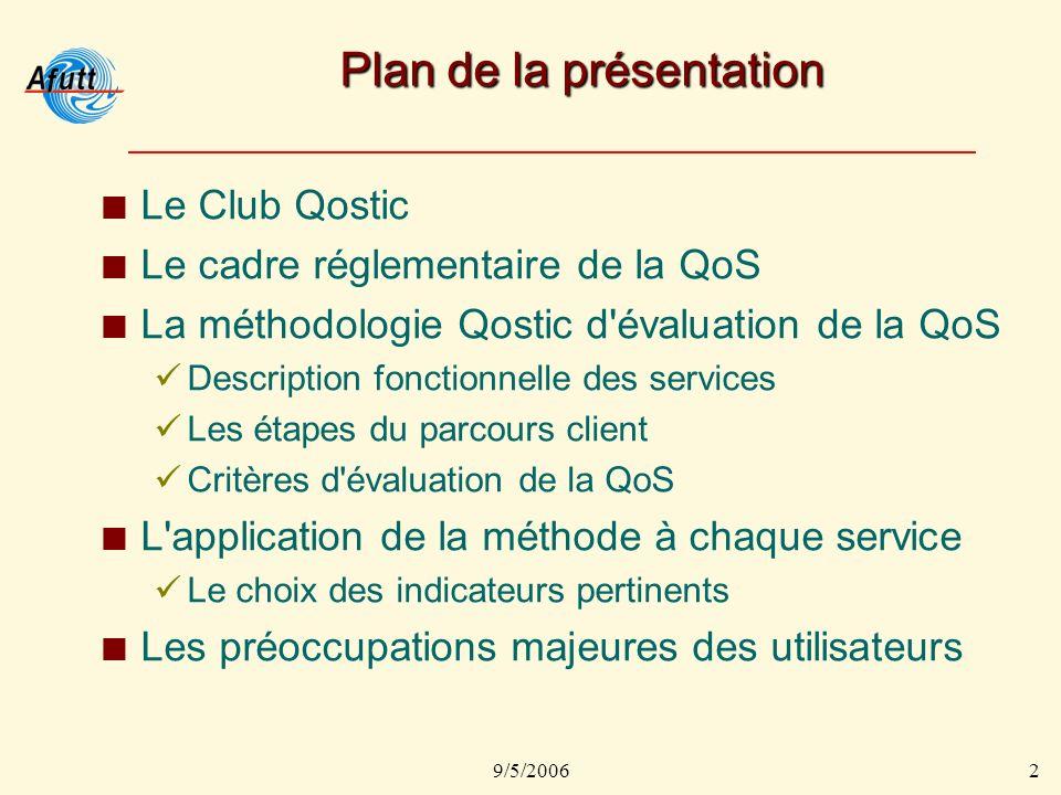 9/5/20063 Le Club Qostic Ouvert à tous les acteurs de la chaîne de valeur Télécoms, Internet et Système dInformation, pour : Identifier des indicateurs de QoS pertinents pour les utilisateurs.